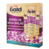 Kit Ampola de Tratamento Niely Gold Bomba de Mega Brilho