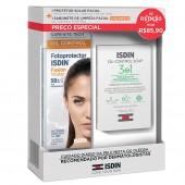 Kit Fotoprotetor Isdin Fusion Water Oil Control FPS50 + Sabonete Oil Control Soap